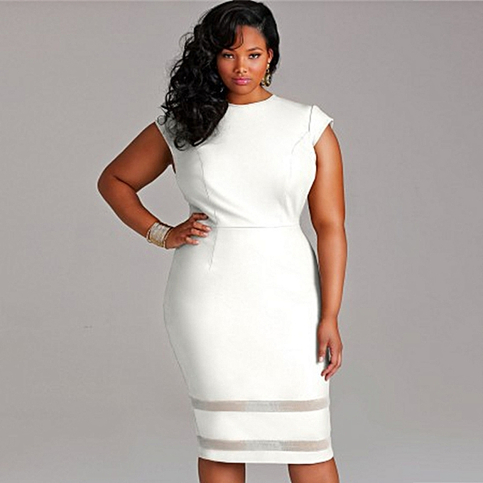 Sexy Women Plus Size Bodycon Dress Mesh Splice Solid Color O-Neck High  Waist Slim 26e2a140a