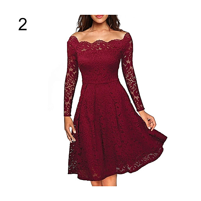 a2baf8086467 Women s Elegant Lace Floral Long Sleeve Boat Neck Cocktail Formal Swing  Dress-Wine Red.