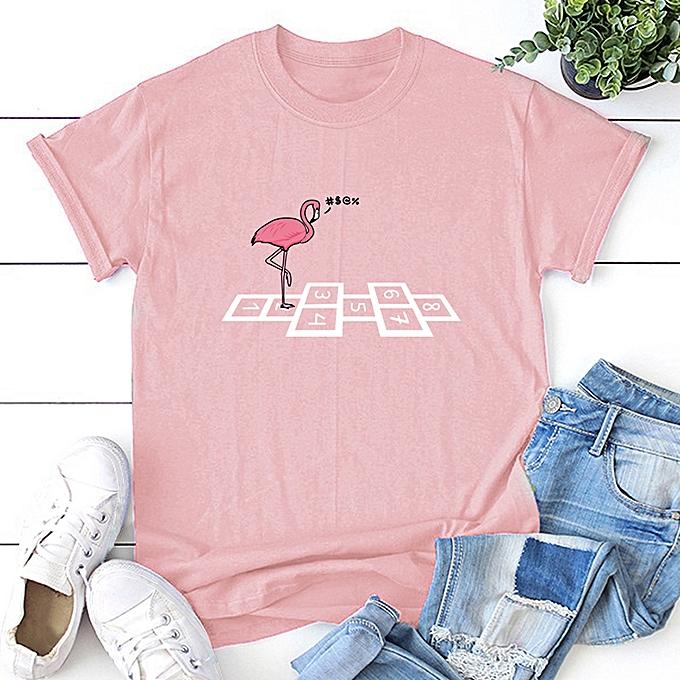 6b379c8acd Women Pluse Size T-shirt Cartoon Animal Bird Flamingo Numbers Print Round  Neck Short Sleeve