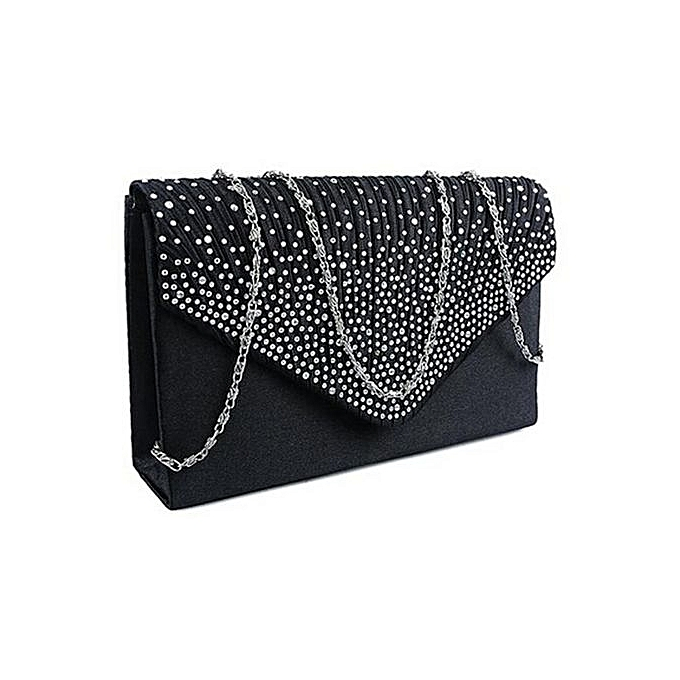 0d766dcd5ac bluerdream-Ladies Large Evening Satin Diamante Ladies Clutch Bag Party  Envelope Bag BK- Black