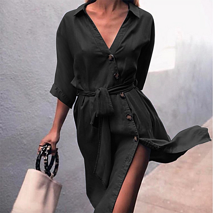 d66a2789cc1d Fashion Women Black Dress 2018 Autumn Ladies Long Sleeve Buttons Down Shirt  Dress Belt Bow Tie