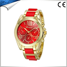 Women Brand Watches Casual Analog Quartz Clock Hours Ladies Dress Wristwatches - Red