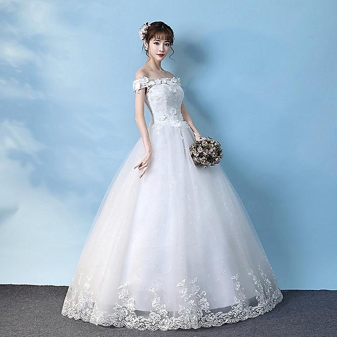 Fashion Princess Lace Beach Wedding Dress Ball Gown-White