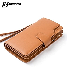 Bostanten Genuine Leather Women Wallets Luxury Brand 2017 Fashion Girls Purse Card Holder Long Clutch BROWN
