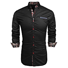Men Long Sleeve Turn Down Neck Front Pocket Loose Tops Casual Dress Cotton Button Down Shirts-Black