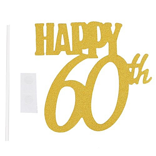 Generic 1pc Gold Happy 60th Topper Glitter Silhouette Wedding Cake Birthday Party Decoration