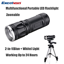 Multifunctional High Power Zoomable Portable LED Flashlight - Black