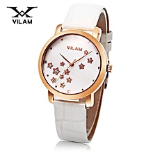 Women Quartz Watch Star Artificial Diamond Dial 3ATM Female Wristwatch-GOLD AND WHITE