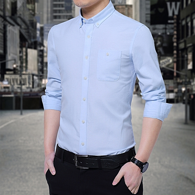 Tauntte Cotton Slim Formal Shirts Men Long Sleeve Shirts Sky Blue