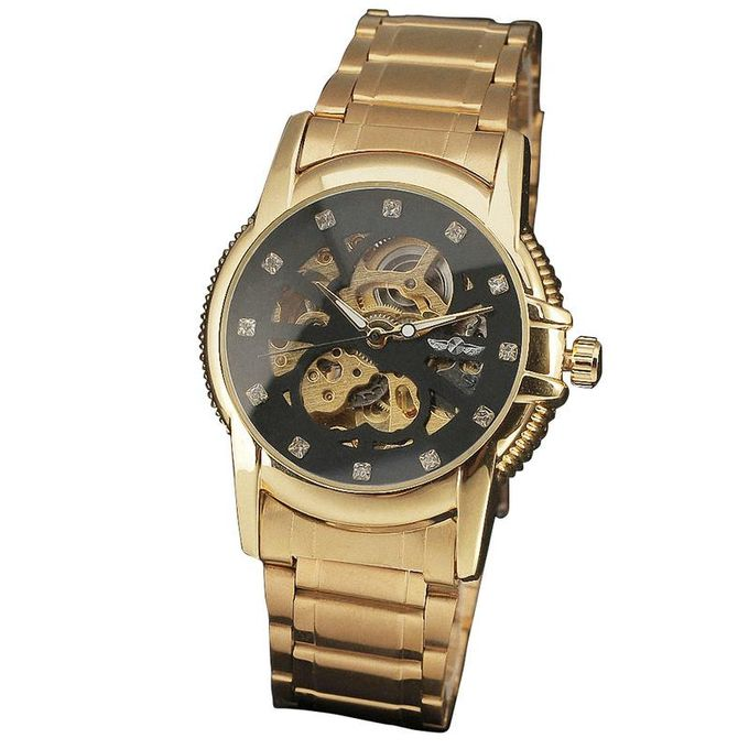 WINNER 161W Palace Royal Woman Golden Automatic Mechanical Clock Crystal  Decorate Skeleton Dial Stainless Steel Female T-WINNER Watch