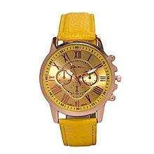 Yellow  Ladies PU Leather Strap Watch..