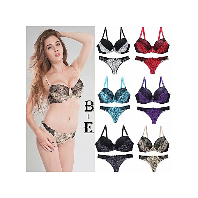 a6bd67d18 B-E Size Sexy bra set lace print color matching underwear large size underwear  set
