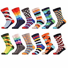 SANZETTI 12 Pairs/Lot Men's Colorful Pattern Combed Cotton Socks Casual Dress Crew Socks Happy Socks US 7.5-12 Christmas Gift Multi