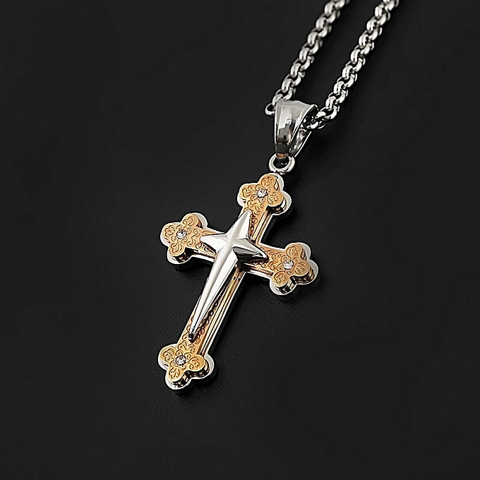 835105c5e Elegant Mens Cross Pendant Necklace Stainless Steel Link Chain Necklace  Statement Jewelry