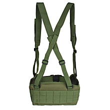 Tactical Molle Combat Waist Padded Modular Belt Battle with H-shaped Suspender Army Green