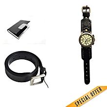 Belt + cardholder + watch (combo )