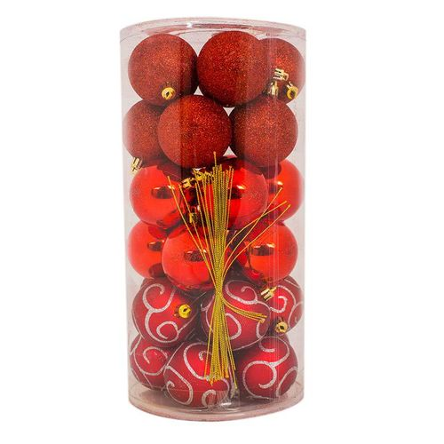 Sirocco 6cm assorted red christmas balls 30 pcs buy for Home decorations on jumia