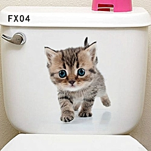 Vivid Wall Paper Animal Cartoon Pattern 3D Glass Toilet Sticker Home Decor