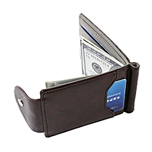 Men's Faux Leather Spring Loaded Money Clip Wallet (Dark Brown)