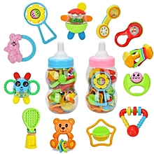 Baby First Rattles Teethers Set - 12pcs Newborn Toys with Giant Bottle