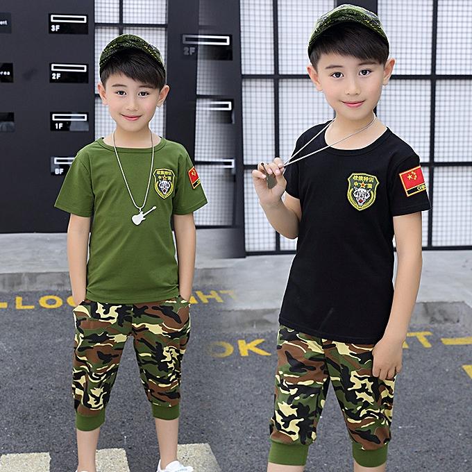 Boy's Clothing Exercise big kid's camouflage-Black