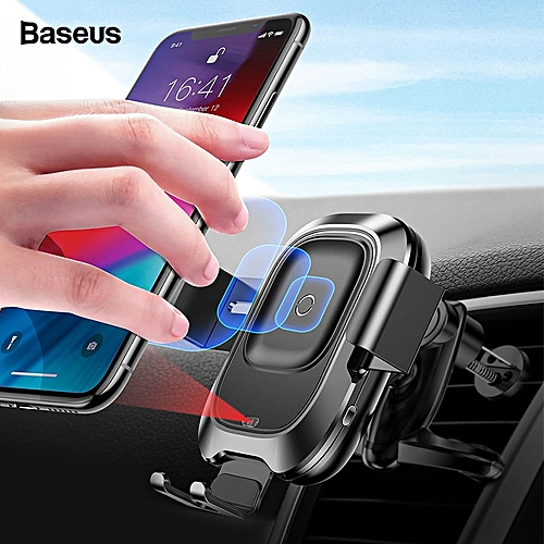 more photos 5bf68 a5bef Baseus Qi Car Wireless Charger For iPhone Xs Max Xr X Samsung S10 S9  Intelligent Infrared Fast Wirless Charging Car Phone Holder SKDEO