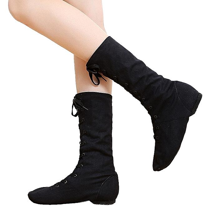 c857d65270b Autumn Canvas Children Adults Dance Boots Jazz Dance Shoes Lace-ups Long  Boots Stage Modern Dance Shoes Women Performance Dance Shoes