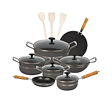 Fine Stylish 15 pieces non-stick cooking set (Glass Lids) - Grey