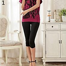 Women's Casual Seamless Tights Capri Leggings Yoga Running Workout Pants-Black