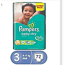 BABY DIAPERS. SIZE 3(6-10kgs) 72 PIECES