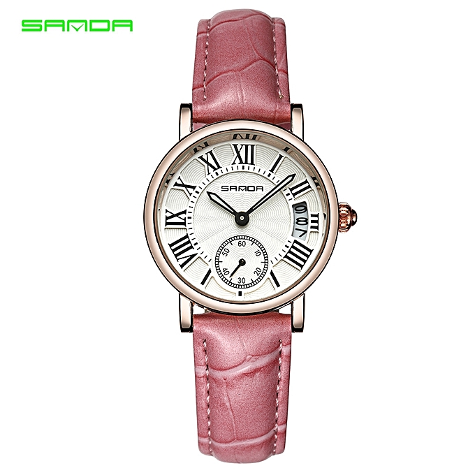 regard détaillé 5f51b 664df SANDA Quartz Watch Dress Watch Ladies Fashion Leather Bracelet Wristwatch  Montre Femme Roman Numerals Waterproof (Pink) FCJMALL