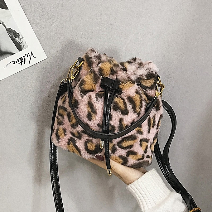 Leopard Print Fur Sling Bag Women Crossbody Bag Bucket Bag Single-Shoulder  Bag(Pink ... 9c232ee9df41f