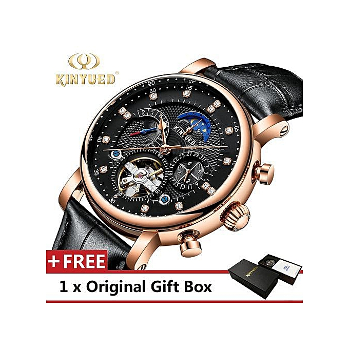 3cf5c520653c Men Business Watch Mechanical Luxury Leather Band Male Watches Gift-Black  ...