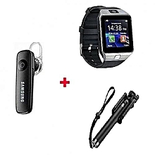 Dz09 Smart Watch Phone + Handsfree Earphone + Selfie Stick - Silver  Black
