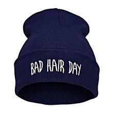 Unisex Warm Winter Fashion Bad Hair Day Wrap Head Cap Wool Hat Hip-hop Knit Beanie Hats Color:Navy