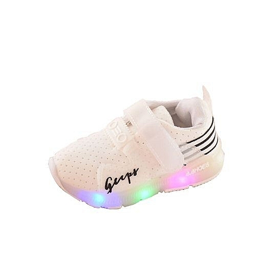 bluerdream-Autumn Toddler Sport Running Baby Shoes Boys Girls LED Luminous Shoes Sneakers? - White