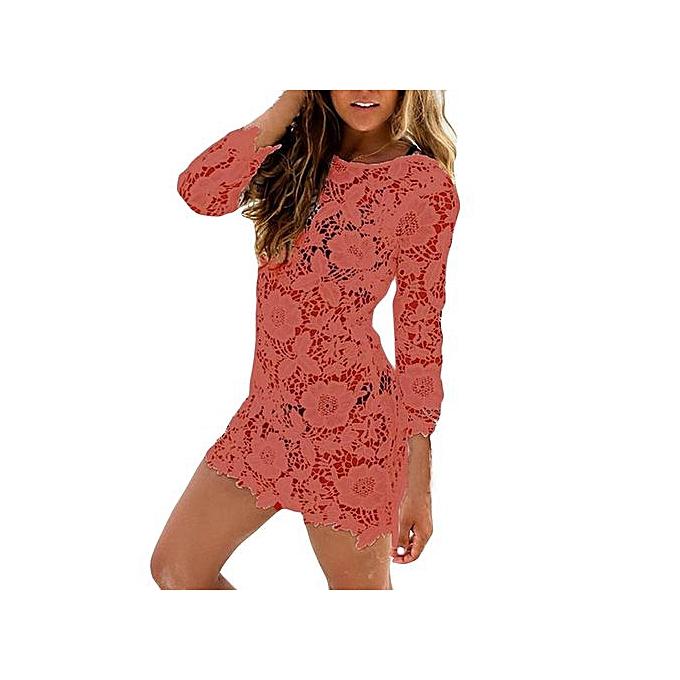 2d2cfc6890d45 Hiaojbk Store Sexy Women Lace Crochet Bathing Suit Bikini Swimwear Cover Up  Beach Dress-Orange