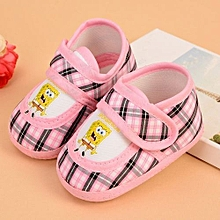 Refined Baby Kids Toddler Warm Shoes 0-1 Years Baby Soft Bottom Shoes Spongebob Antiskid Shoes-Pink