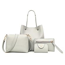 b80e1bffcdc1 4Pcs Women Pattern Leather Handbag+Crossbody Bag+Messenger Bag+Card Package