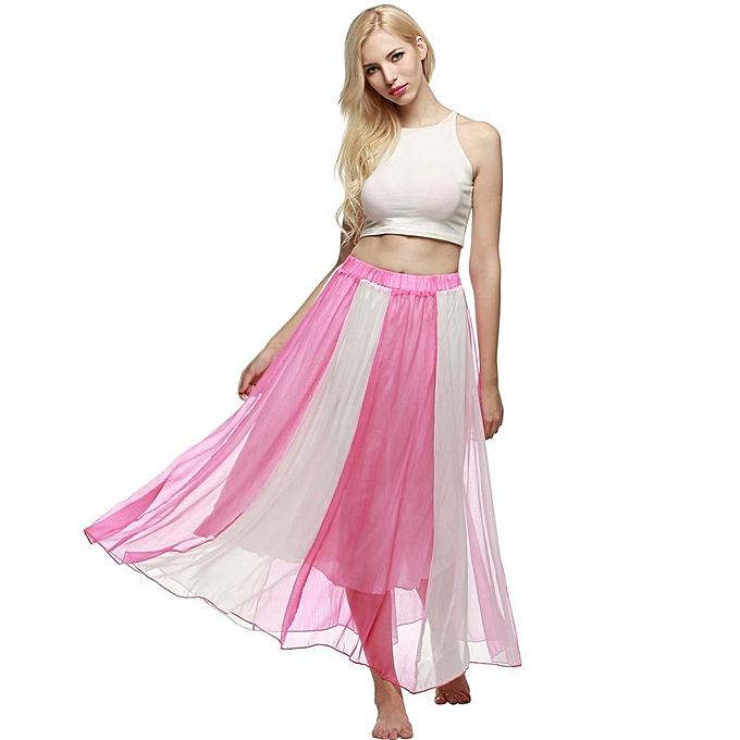 a7d0ad4ca2 ACEVOG Bohemian Style Women Swing Flowing Maxi Full Chiffon Beach Skirt-Rose  Red