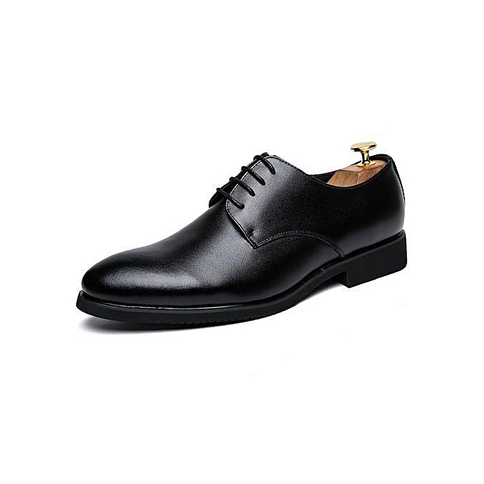Men Dress Shoes Brogue Black Business Wedding Flats Round Toe