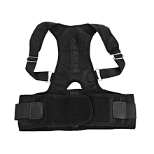 Adjustable Posture Corrector Magnetic Back Brace Support Belt - Black