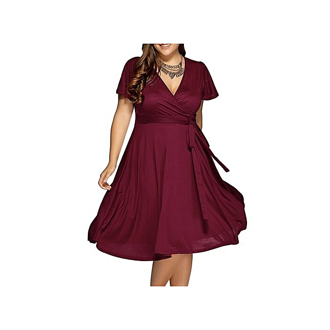 24884de5f99 Fashion Women Surplice Front Tie Swing Dress - Wine Red   Best Price ...