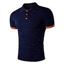 Men's Panel Design Polo T-Shirt - Cadetblue
