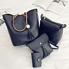 4Pcs/Set Women Faux Leather Handbag Shoulder Bag Tote Purse Messenger Handbag-Black.,