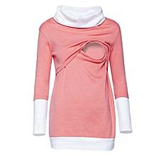 huskspo Women Colorblock Maternity Nursing Wrap Top Long Sleeve Double Layer Cap Blouse