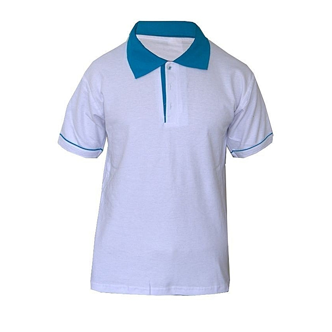 Shoppers Golf Polo Shirt White Amp Blue Best Price