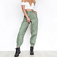 43ba745d338590 Womens High Waist Solid Harem Pants Ladies Zip Up Legging Trousers
