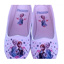 Frozen cartoon themed doll shoes for girls - white