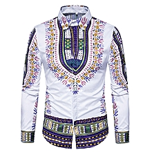 National Style Pattern Printing Button up Long Sleeve Chic Designer Shirts for Men